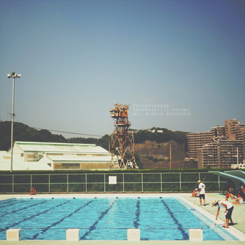 yokosuka, Japan, pool, summer, sky, (h)fuyunt